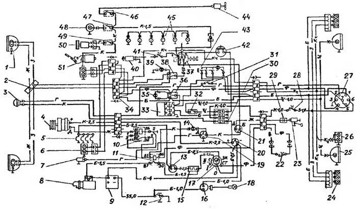 Схема проводки: 1 — передние
