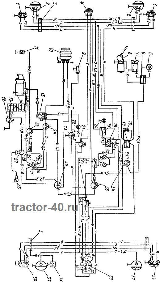 Электропроводка трактора т-40. Схема электропроводки:: трактор т-40.