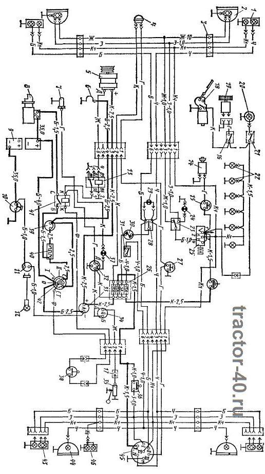 Схема электропроводки трактора